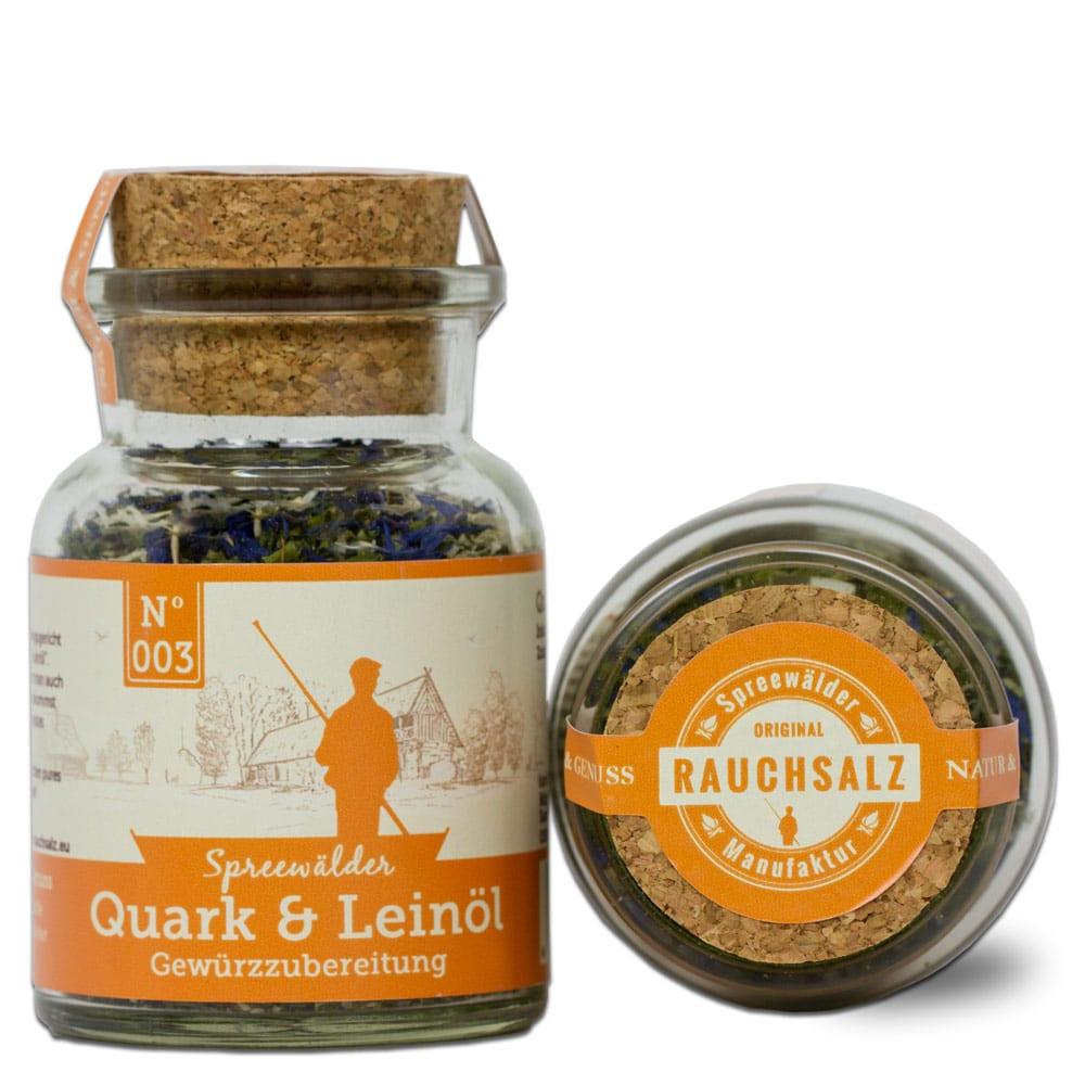 Quark und Leinöl Einzelglas und Glas liegend