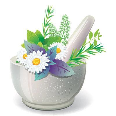 Gewürz Mörser farbig Blumen Kräuter Gewürze